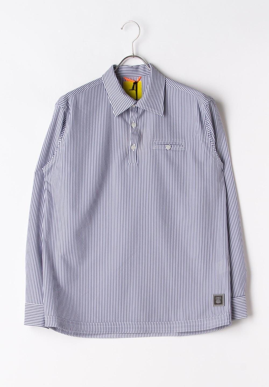 シアサッカープルオーバーシャツ ホワイト/ネイビー - #1