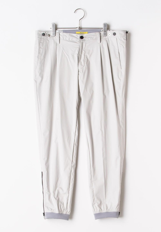 テックナイロン裾ジップ テーパードパンツ グレー - #1