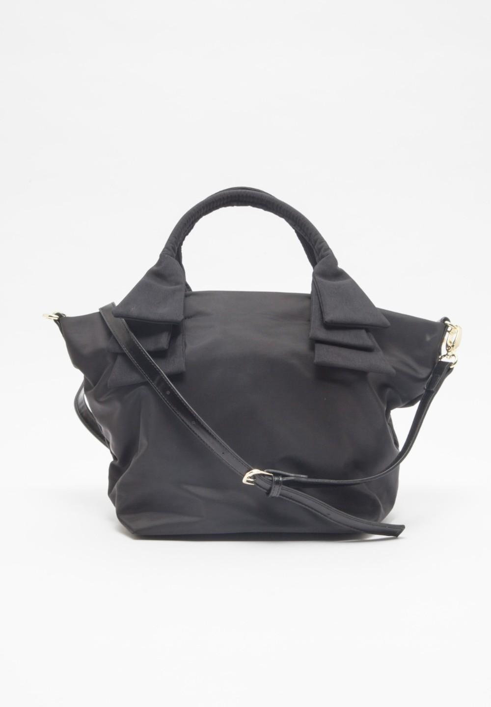 リボンハンドルナイロントートバッグ Black - #1