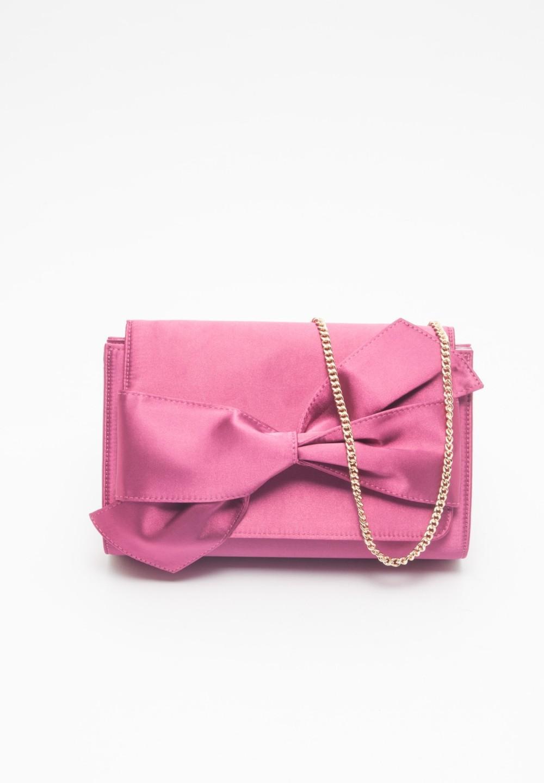 サテンリボンクラッチ Pink - #1