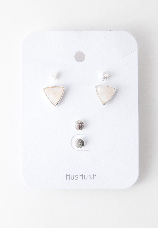 【HusHusH】3個SETピアスホワイト - #1