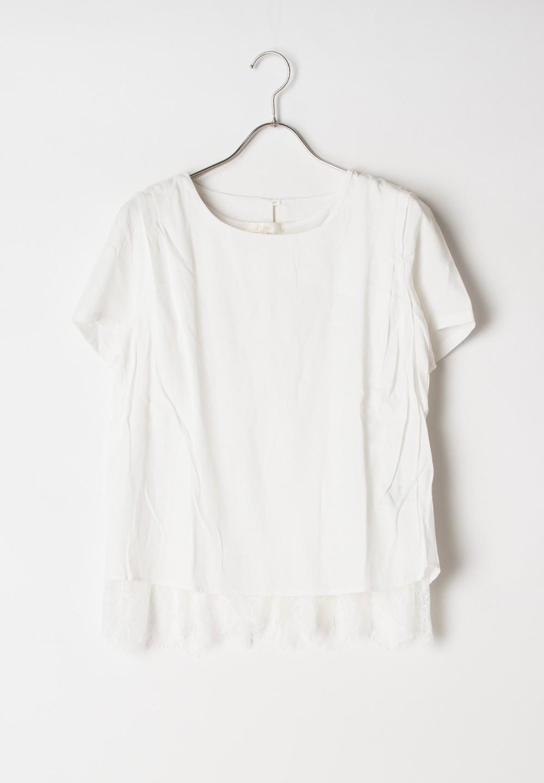 【GROVE】肩タックBL+裾ひげレースタンク付AS ホワイト - #1