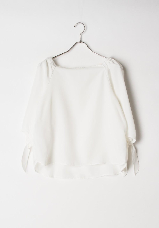 【GROVE】肩ゴム袖リボンBL七分袖 オフホワイト - #1