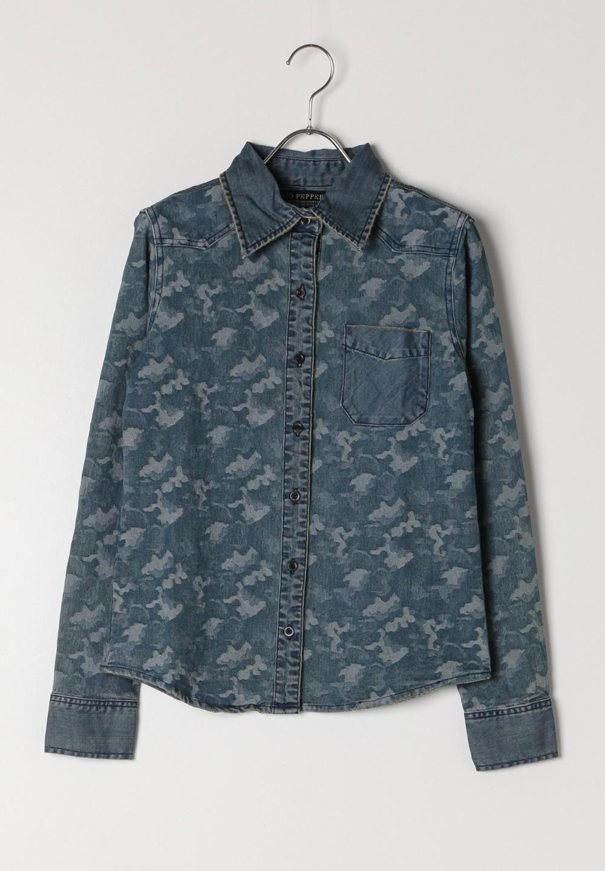 迷彩切替デニムシャツ ケミカル - #1