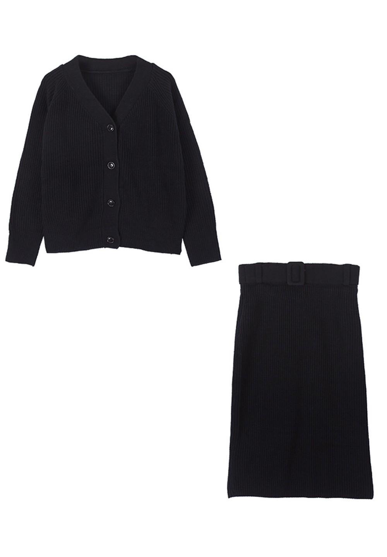 カーディガン×ベルト付スカートセットアップ ブラック - #1