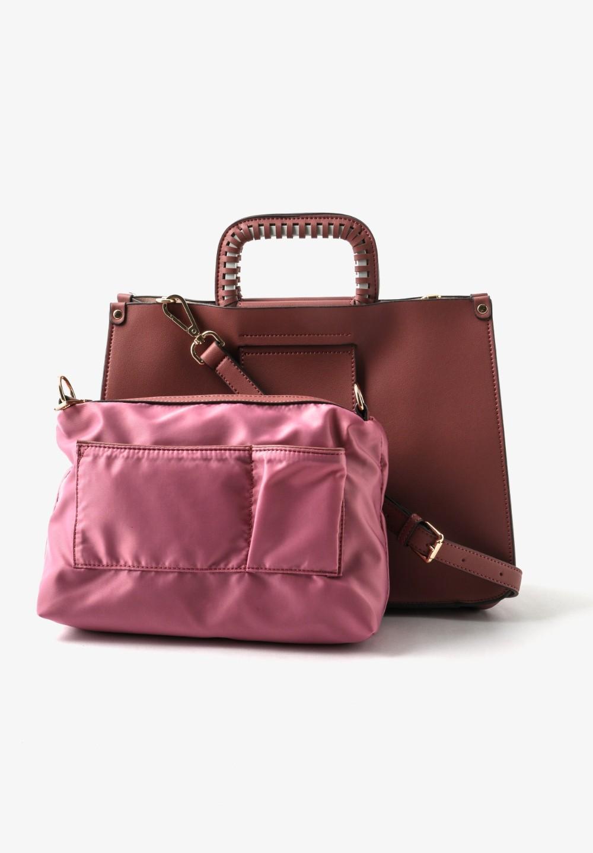 切込み飾りメタルハンドルバッグ Pink - #1