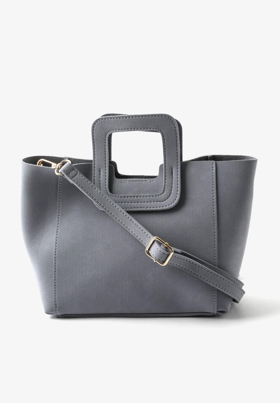 スクエアハンドルスエードバッグ Blue - #1