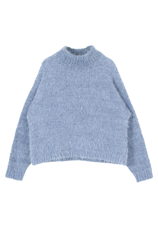 フェザーモールモックネックニットプルオーバー ブルー - #1
