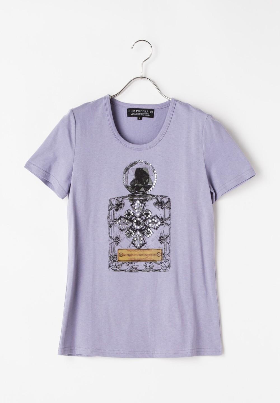 香水柄Tシャツ パープル - #1
