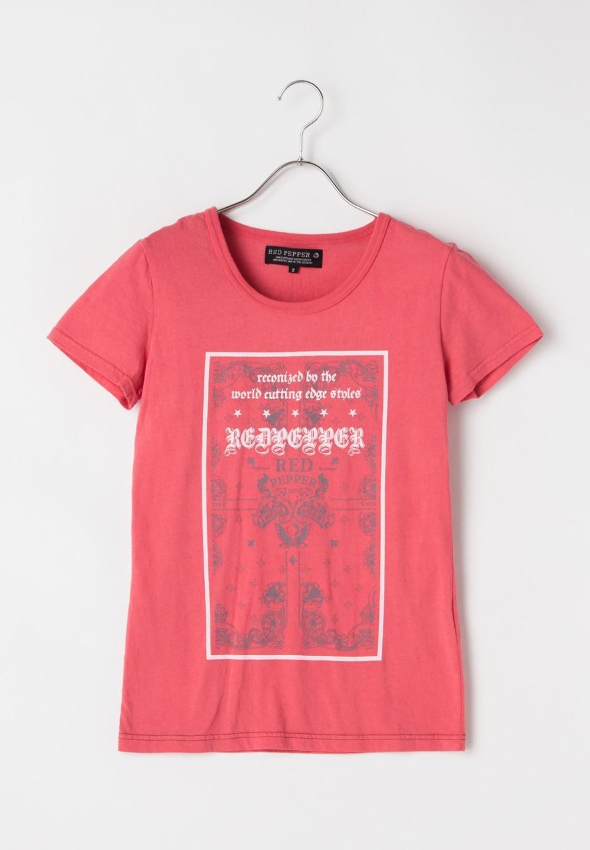 顔料染めバンダナ柄Tシャツ レッド - #1