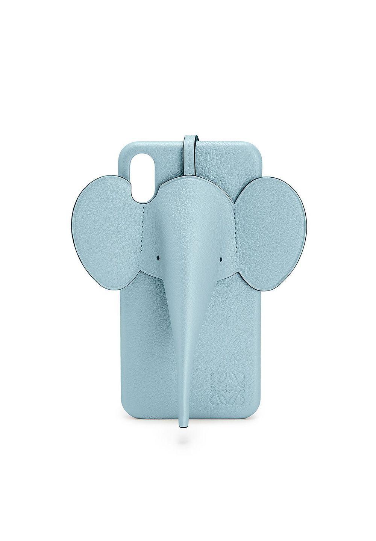 エレファント フォンカバー iPhone XS MAX 用 (パーライズド カーフスキン)     ライトブルー - #1