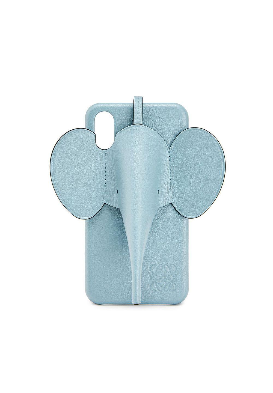 エレファント フォンカバー iPhone X/XS MAX 用 (パーライズド カーフスキン)     ライトブルー - #1