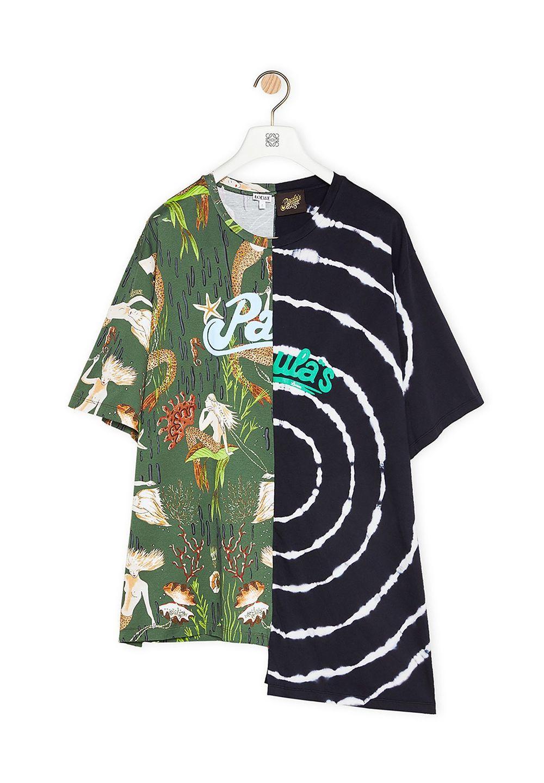 アシンメトリー オーバーサイズ プリント Tシャツ (コットン)     マルチカラー/ネイビー - #1