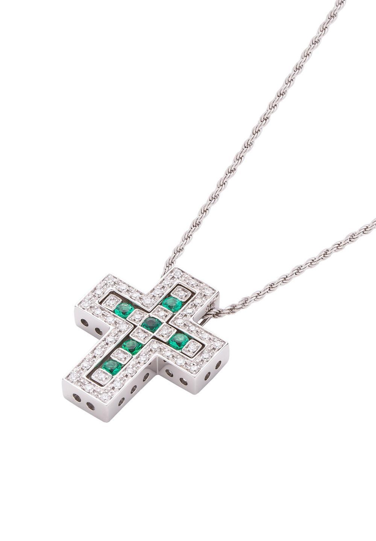 ベル エポック ホワイトゴールド ダイヤモンド エメラルド ネックレス Sサイズ - #1