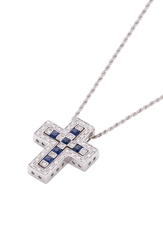 ベル エポック ホワイトゴールド ダイヤモンド サファイア ネックレス Sサイズ - #1
