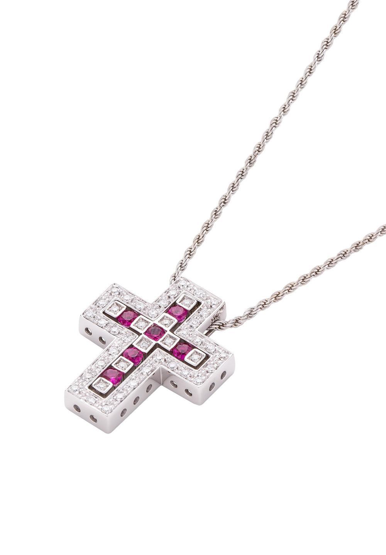 ベル エポック ホワイトゴールド ダイヤモンド ルビー ネックレス Sサイズ - #1