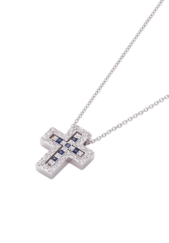 ベル エポック ホワイトゴールド サファイア ダイヤモンド ネックレス XXSサイズ - #1