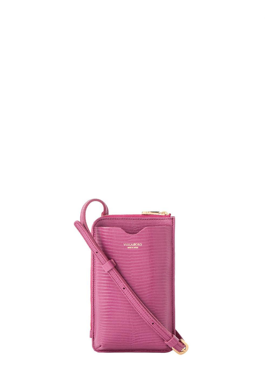 リザード型押しスマートフォンポシェット purple pink - #1