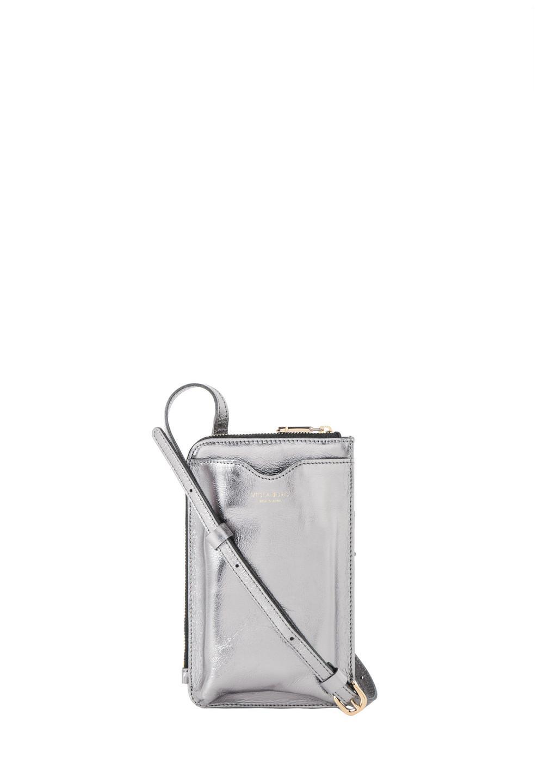 メタリックレザースマートフォンポシェット silver - #1