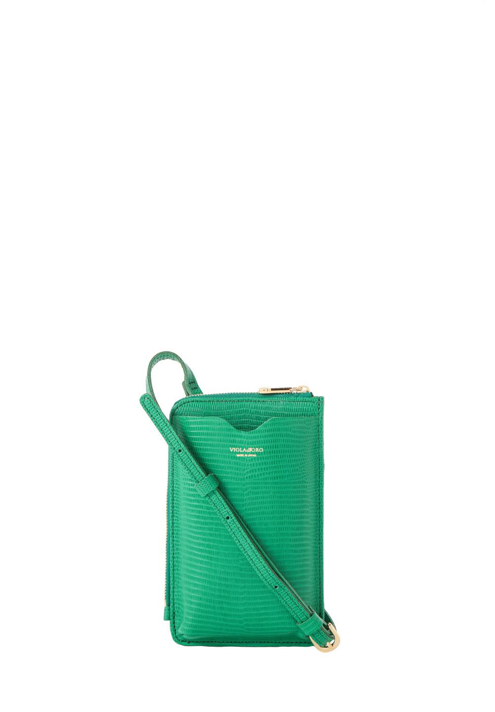 リザード型押しスマートフォンポシェット green - #1